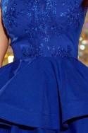 200-7 CHARLOTTE - Exkluzivní šaty s krajkou výstřihem - modrá