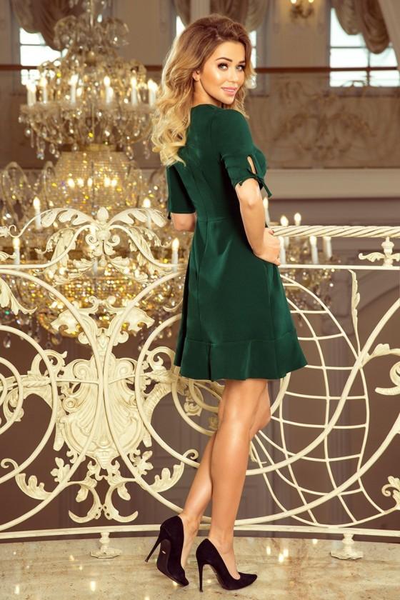 Šaty s volánky a vázáním na rukávech - tmavě zelená