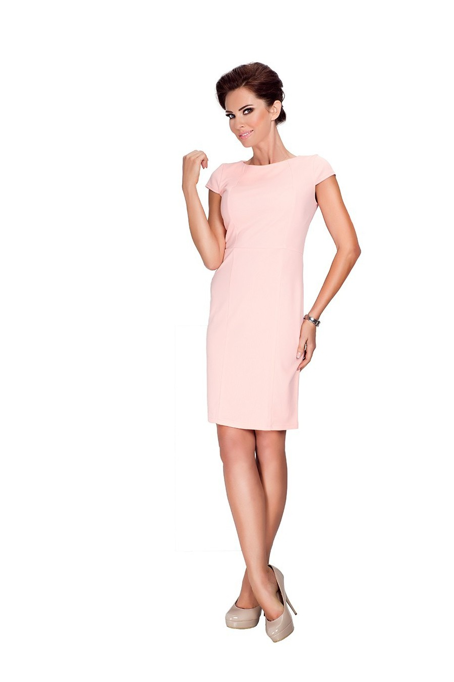 37-1 Elegantní šaty s krátkými rukávy - broskev