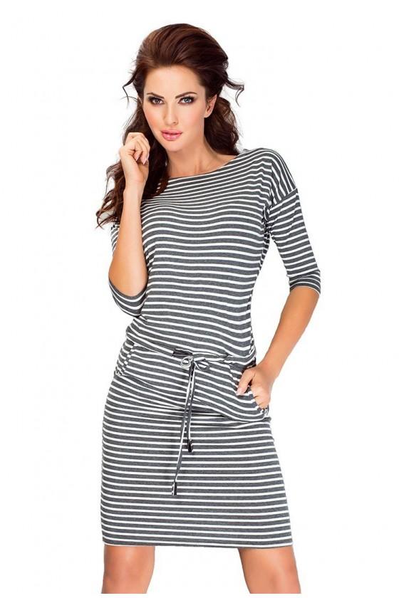 Sportovní šaty - šedé pruhy 13-11