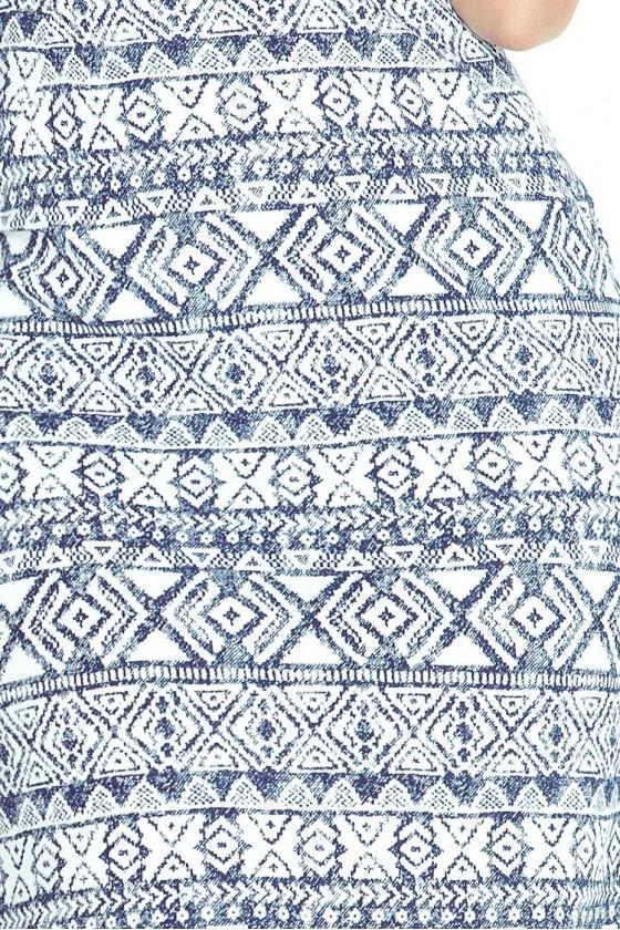 Přiléhavé šaty - ecru + modre 53-14