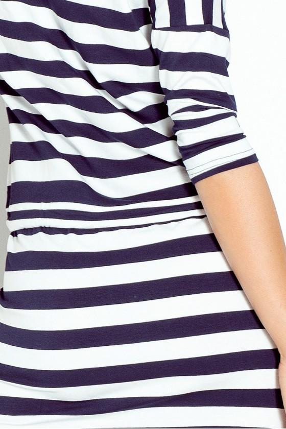 Sportovní šaty - modré pruhy 2x2cm 13-46