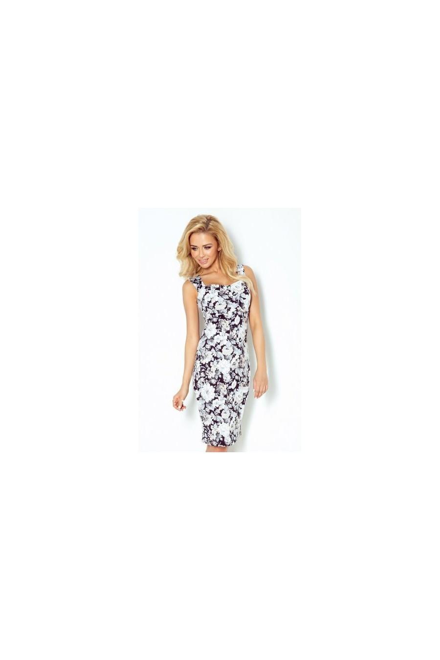 Šaty s výstřihem a cut-out zpět - ecru květy 104-3