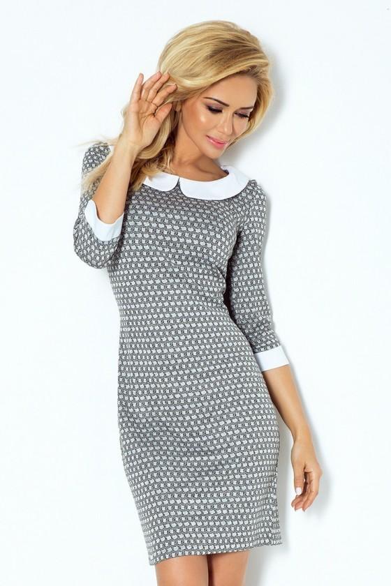 Šaty se  límcem - šedá bludiště 111-2