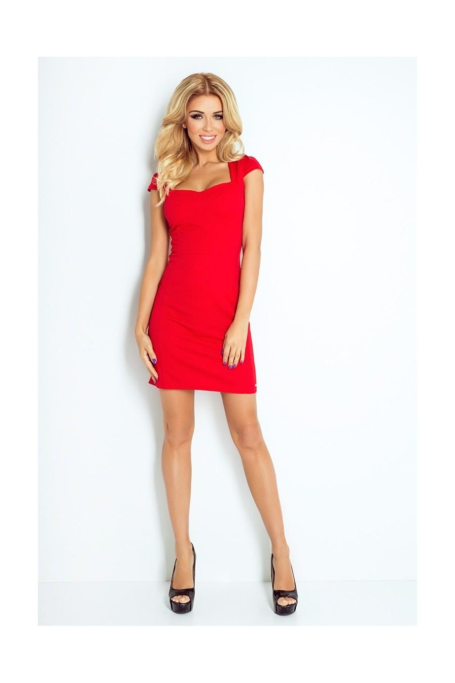 šaty s rukávy - cerveny 118-2