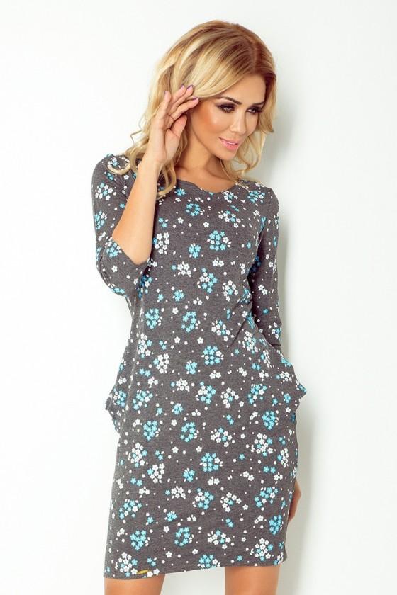 Jola - šaty s kapsami - kvety 40-9