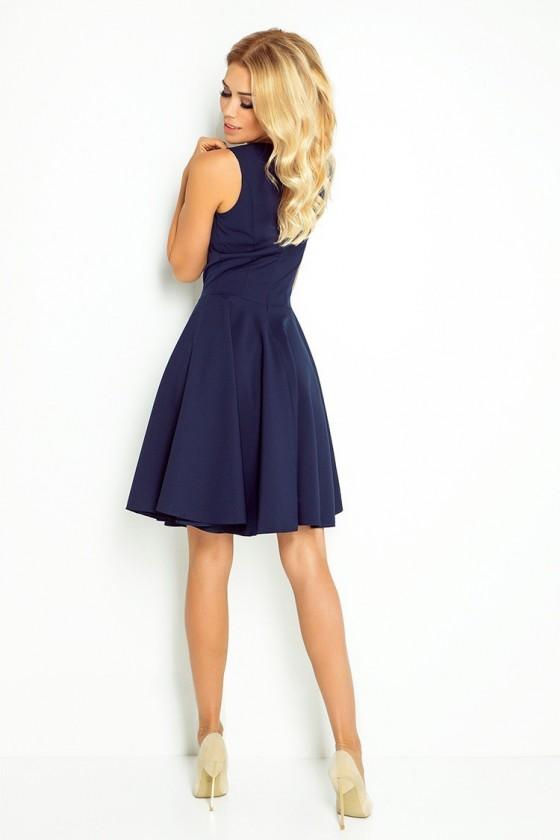 114-7 Rozšiřující šaty - ve tvaru srdce výstři - tmavě modré