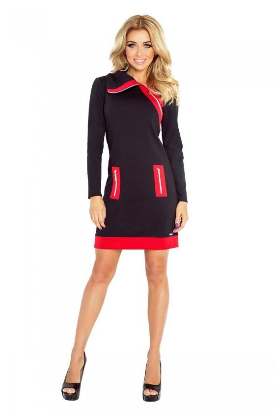 129-4 Justyna šaty se třemi zámky - černá + červené zámky