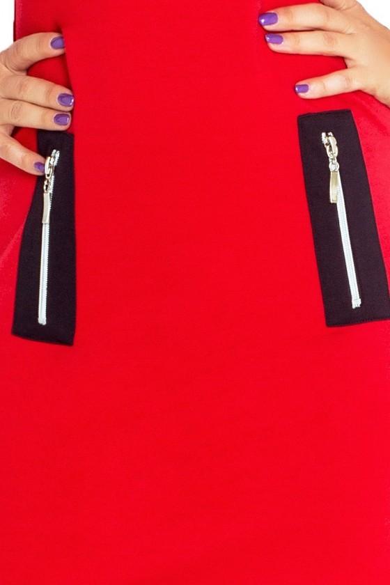 129-3 Justyna šaty se třemi zámky - červená + černé zámky