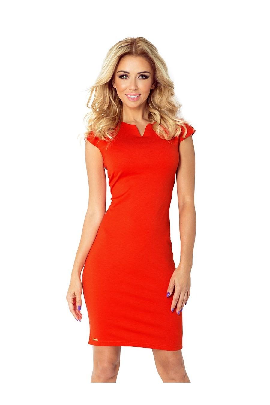 132-4 šaty se štěrbinou - oranžový