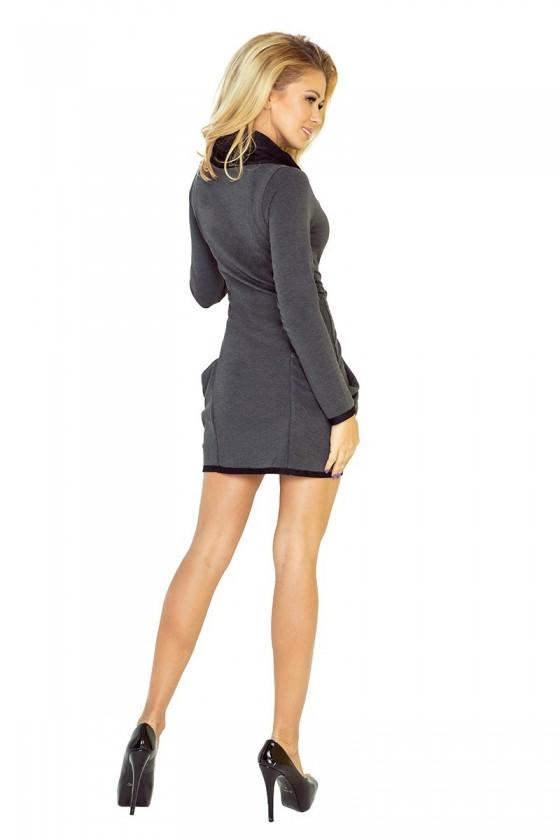 Golf - šaty s velkými kapsami - grafit - 135-4