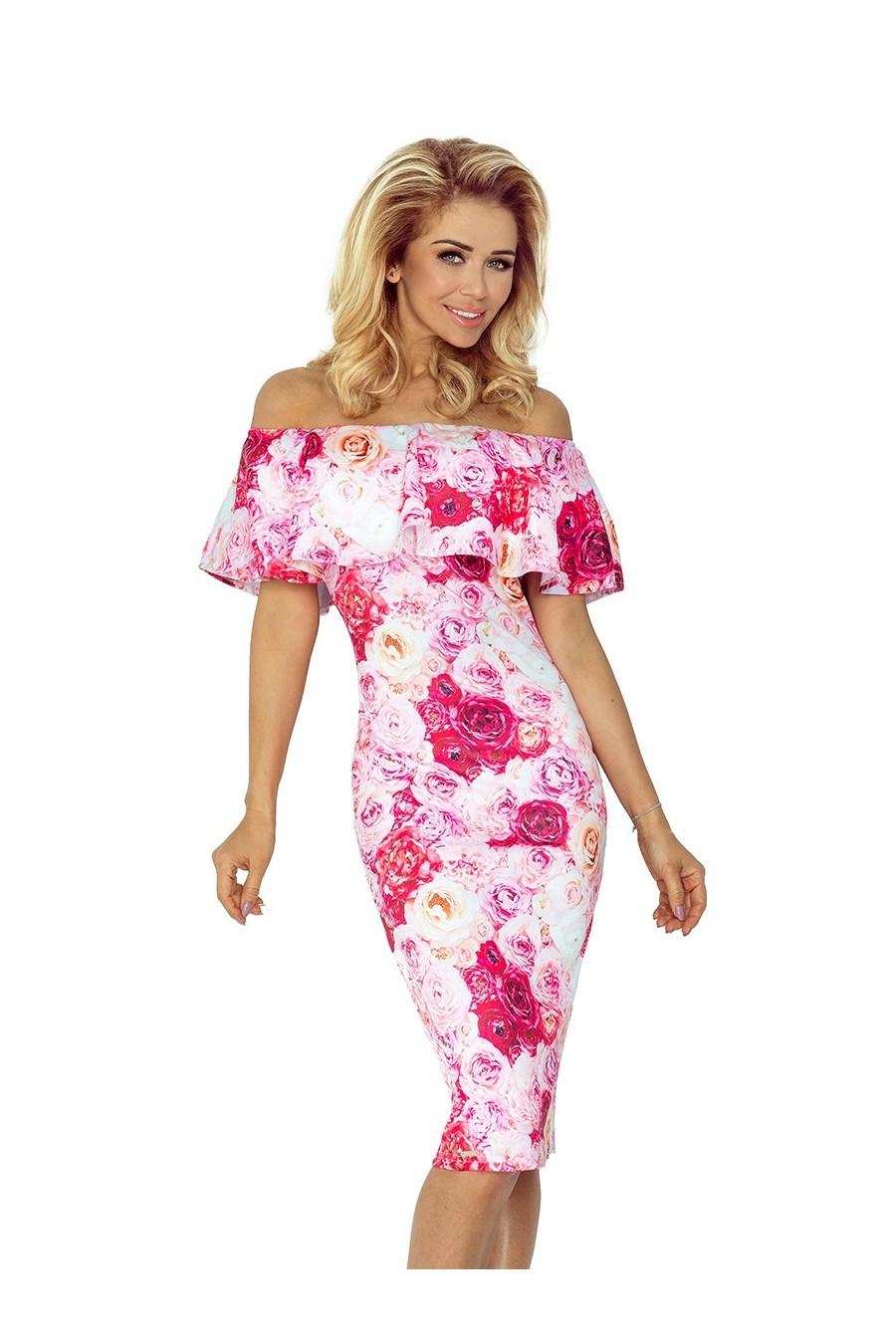 Šaty s límcem - růžové růže 138-6