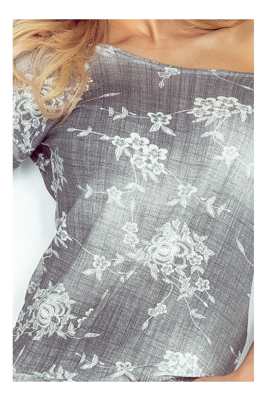 Sportovní šaty - šedý jeans - květiny 13-57