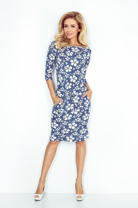 Sportovní šaty - modrý jeans - květiny 13-62