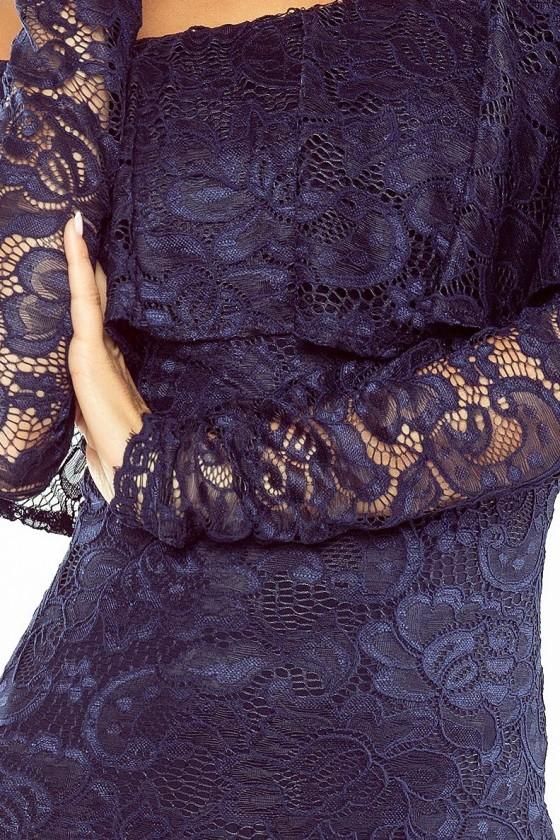 MM 021-2 Šaty s límcem - krajka - tmavě modrá