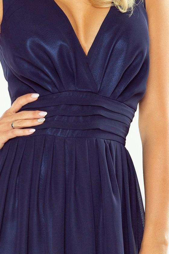 166-1 MAXI šifónové šaty - tmave modrá