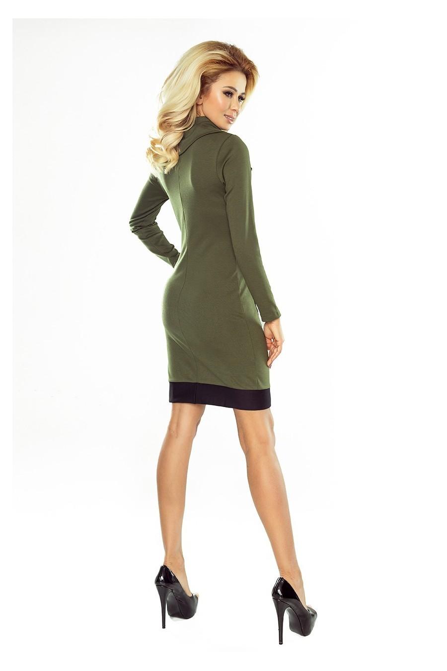 129-7 Justyna šaty se třemi zámky - KHAKI + cerné zámky
