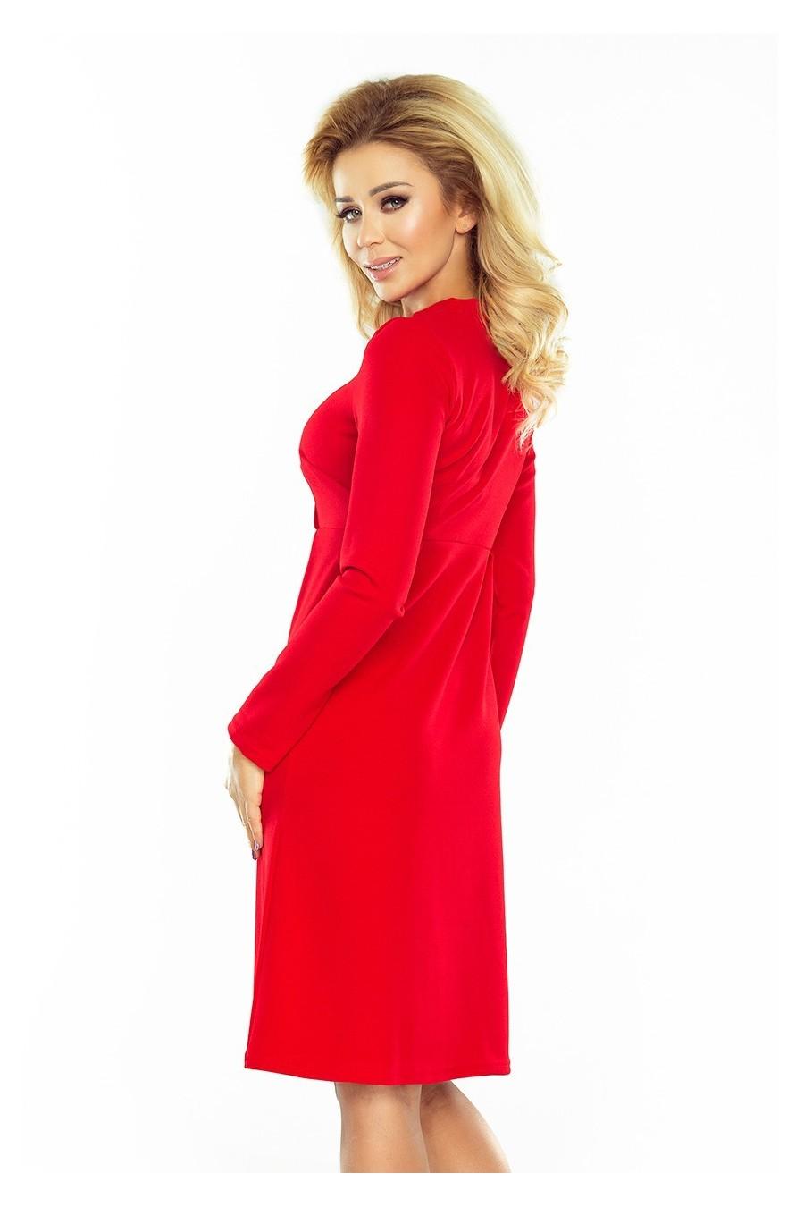 OLA trapézové šaty, svázaný pod krkem - červené 158-2
