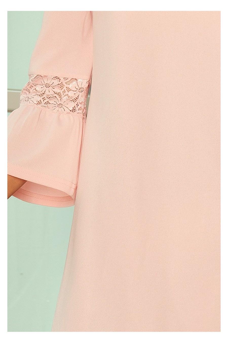 190-1 MARGARET šaty s krajkou na rukávech - pastelová růžová