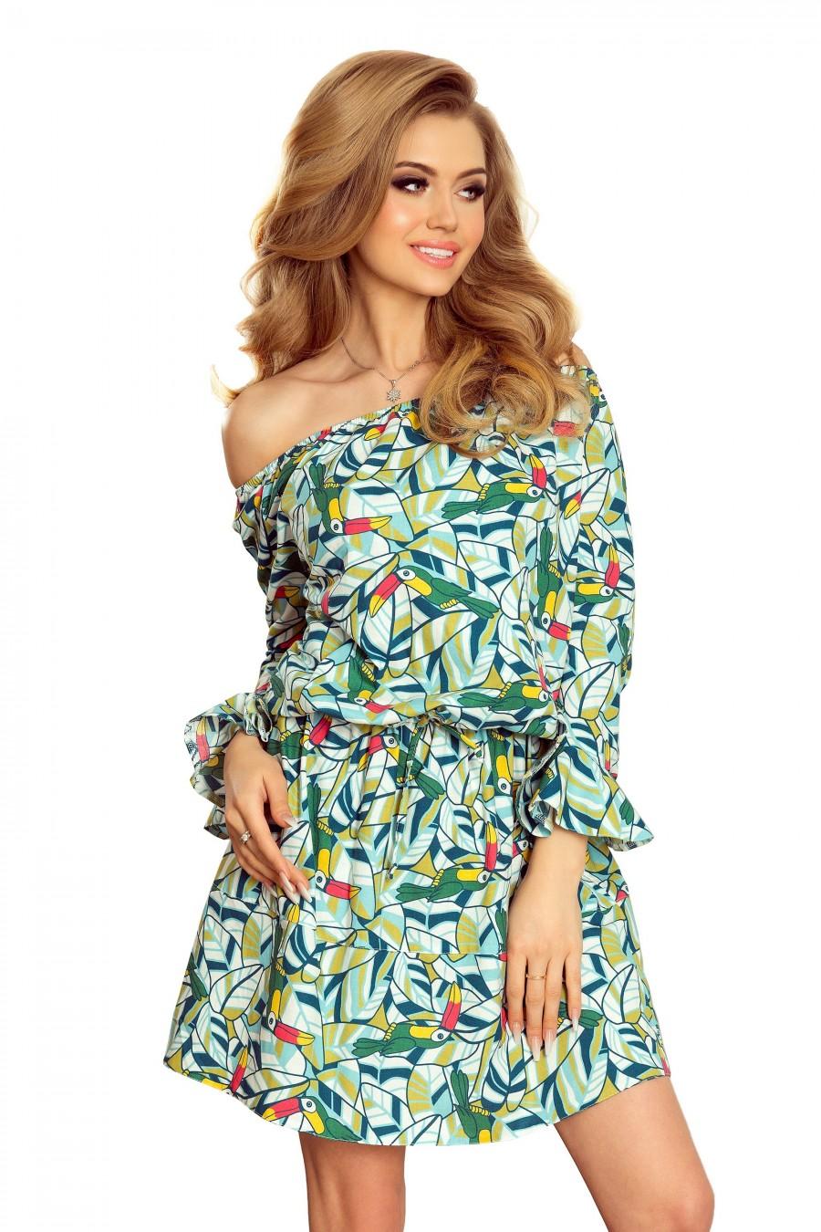 198-4 JULIE Šaty s volánky na rukávech - zelené toukany