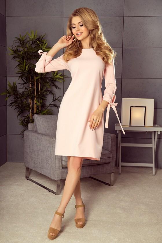 195-2 ALICE Šaty s luky - pastelové růžové