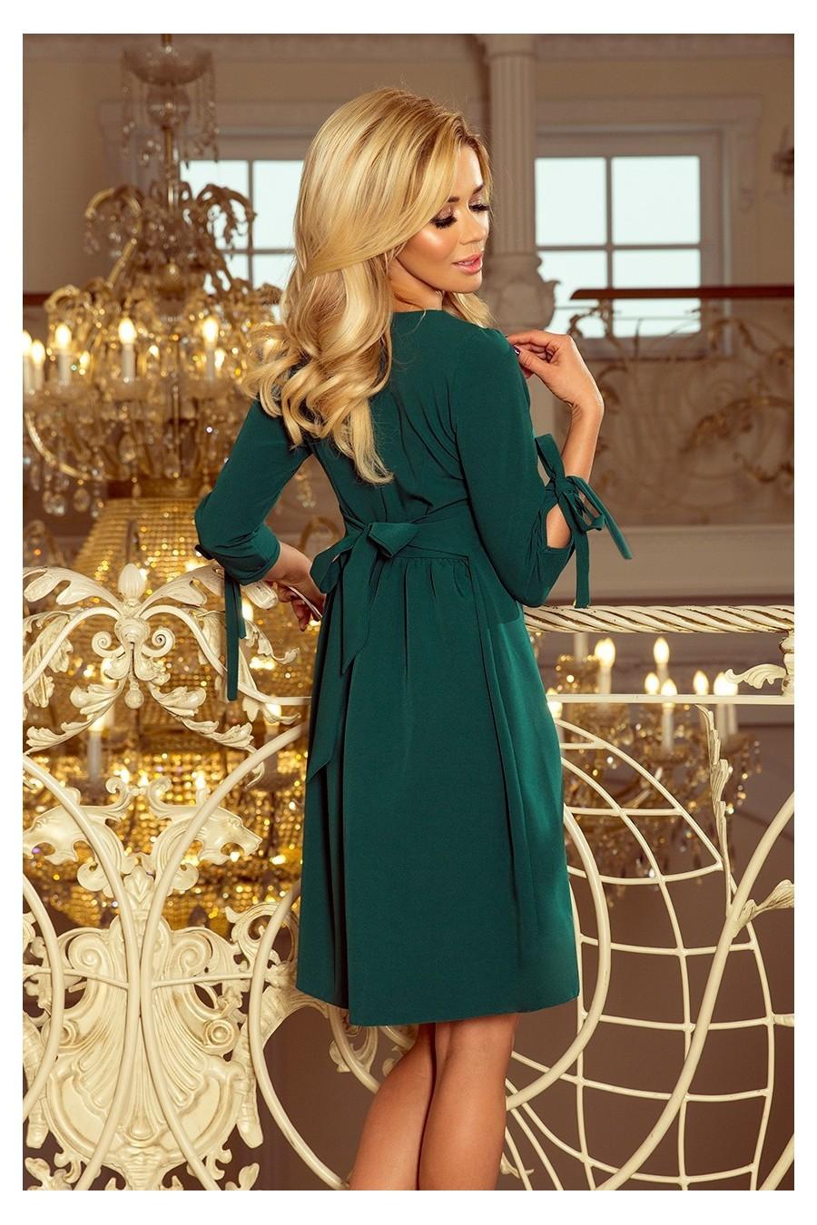 195-1 ALICE Šaty s luky - zelená