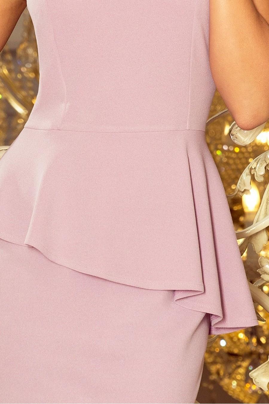 192-2 Elegantní midi šaty s volánky - LILA