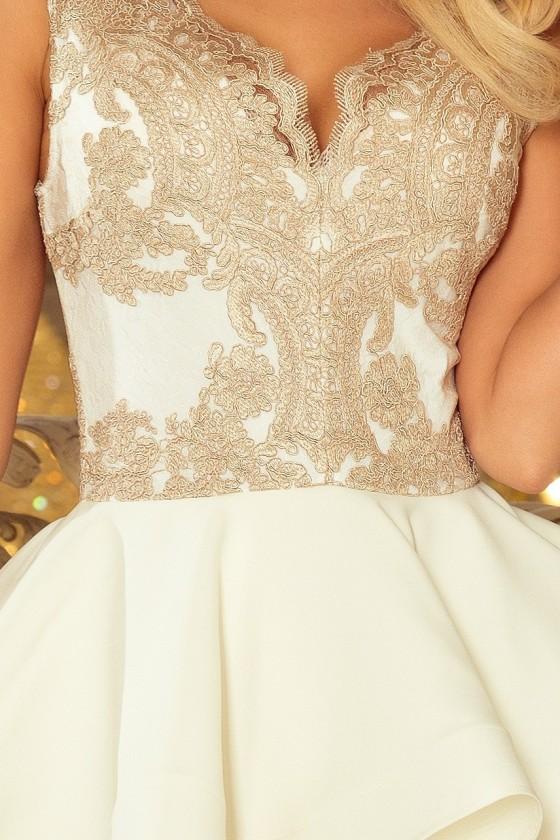 200-1 CHARLOTTE - Exkluzivní šaty s krajkou výstřihem - zlato / béžová + ecru