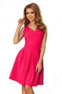 160-6 Šaty s výstřihem a kapsami - růžová