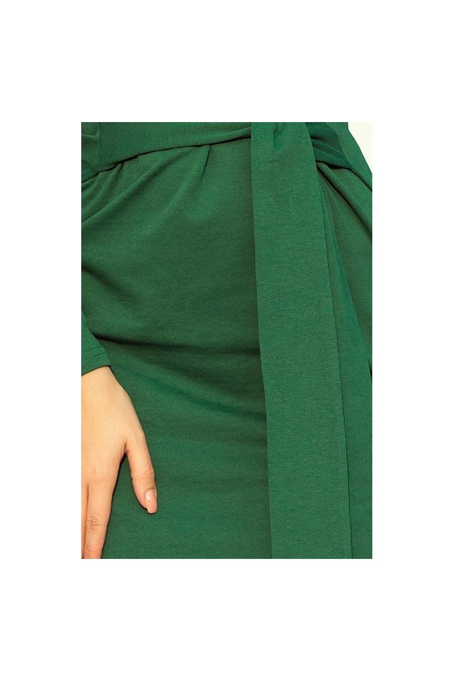 209-2 Šaty se širokým páskem - tmavě zelená