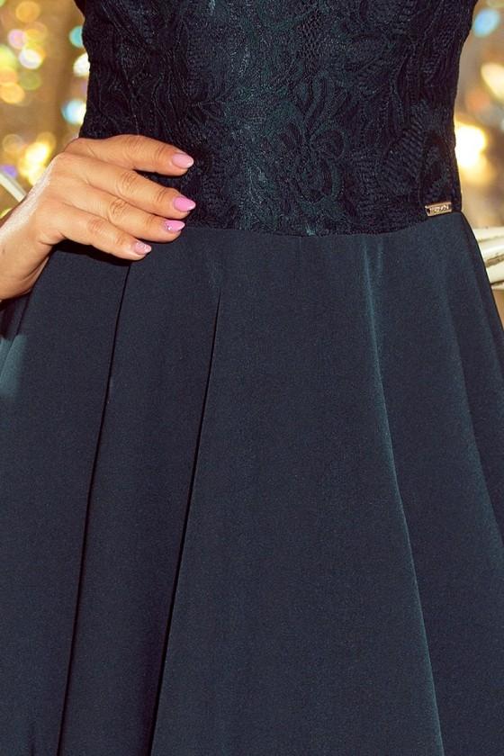 157-9 MARTA šaty s krajkou - tmavě zelená