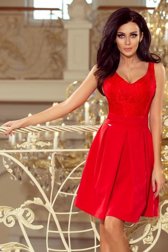 208-2 Šaty s krajkovým výstřihem a záhyby - červené