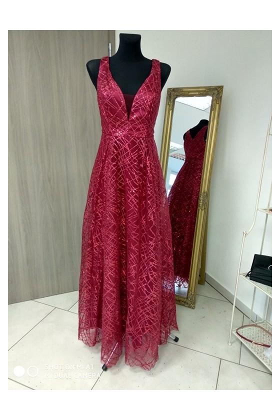 Trblietavé bordové šaty 4181