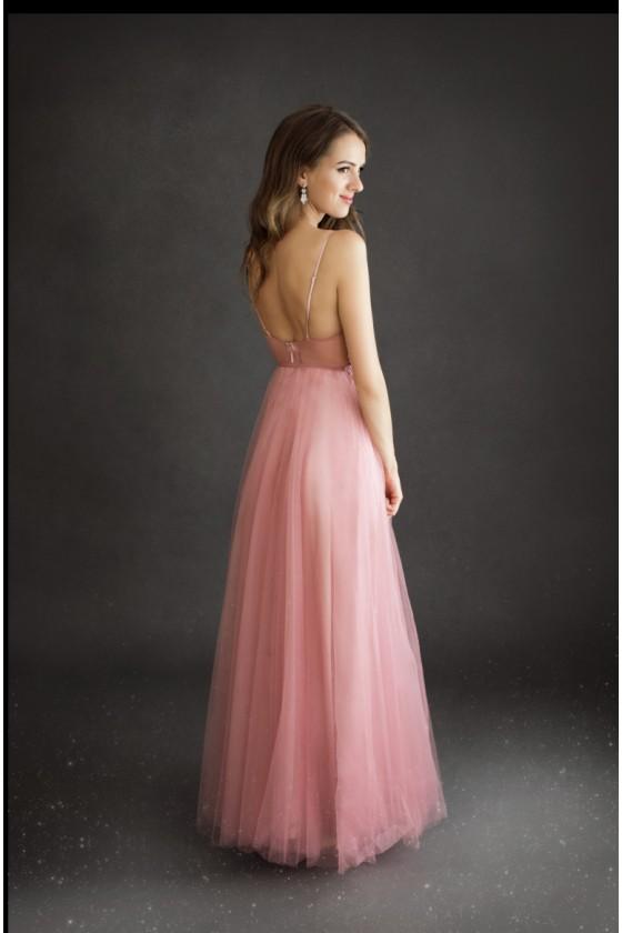Ružové spoločenské šaty 3436