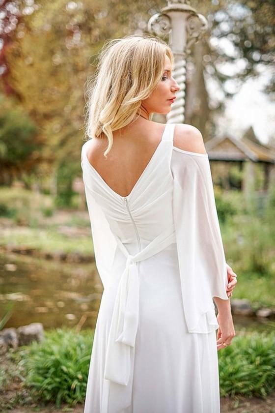 Jednoduché svadobné - popolnočné šaty 30107