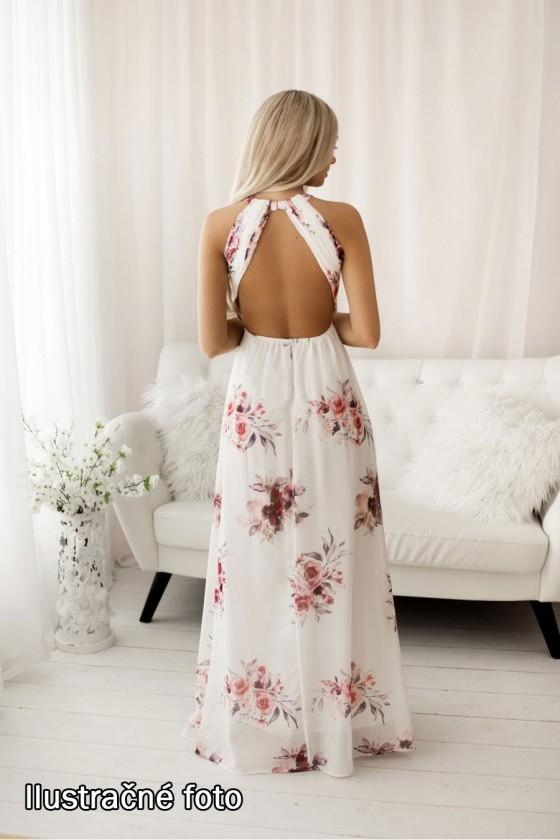 Kvetované spoločenské šaty 30115
