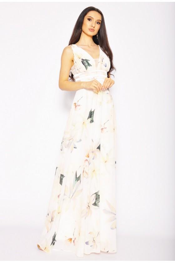 Kvetované spoločenské šaty 30103